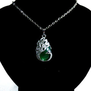 Jewelry - Peacock Emerald Green & Silver Necklace